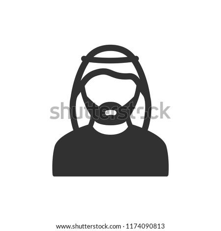 man in wearing a keffiyeh. monochrome icon