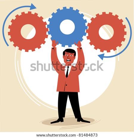 man inserts a gear.figure business concept