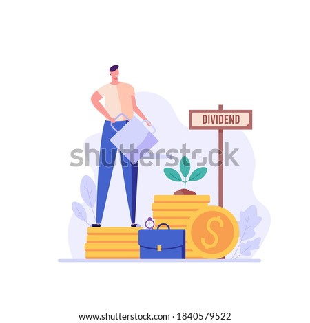 Man invests in share, receive dividends. Concept of return on investment, financial solutions, passive income, equity stake. Vector illustration in flat design for web banner, landing page Photo stock ©