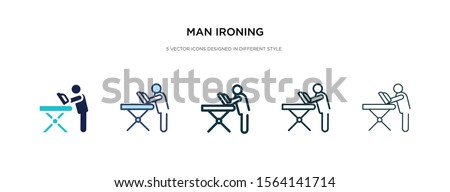 man ironing icon in different