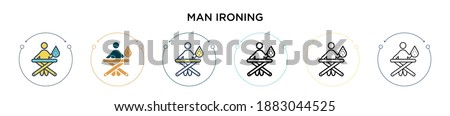 man ironing icon in filled