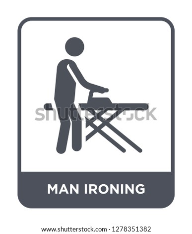 Stock Photo man ironing icon vector on white background, man ironing trendy filled icons from Behavior collection, man ironing vector illustration