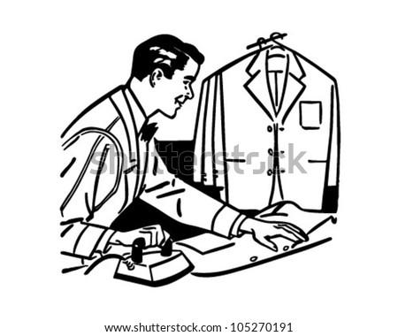 Man Ironing - Retro Clipart Illustration