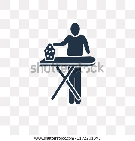 Stock Photo Man Ironing vector icon isolated on transparent background, Man Ironing transparency concept can be used web and mobile