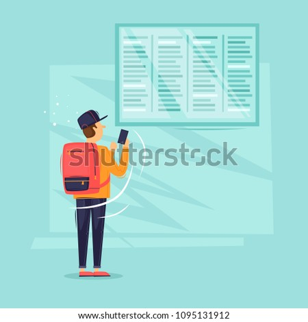 Man is at a timetable at the airport. Flat design vector illustration.
