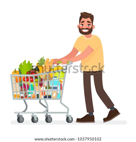 Man is carrying a grocery cart full of groceries in the supermarket. Vector illustration in cartoon style