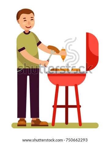 man is cooking barbecue on grill in modern flat style vector illustration