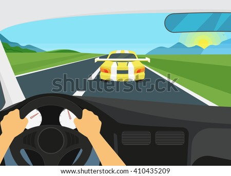 man is driving racing speed