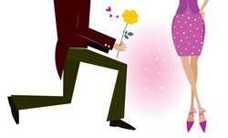 Man is giving woman gift - yellow rose. Vector Illustration in retro style.