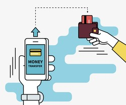 Man is sending money from credit card to his friend via mobile phone. Flat line contour illustration of money transferring via smartphone app