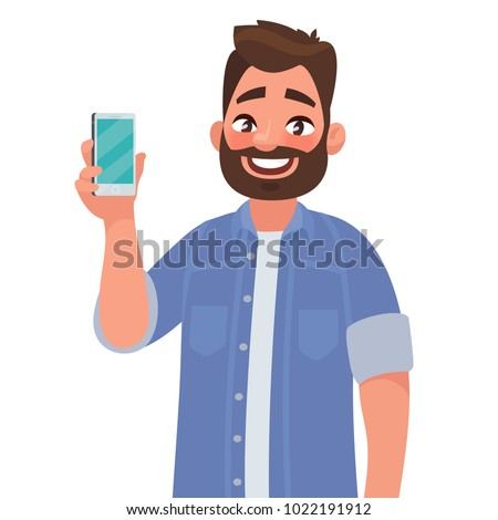 man is showing the phone