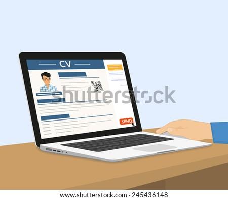 Man is sitting at home desktop and sending his CV via e-mail. Vector illustration of sending human resume for employer on laptop screen