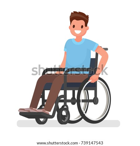 Man is sitting in a wheelchair on a white background. Vector illustration in a flat style Foto stock ©