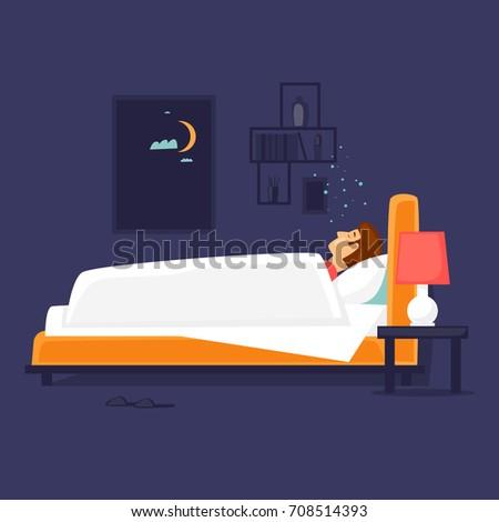 Man is sleeping in bed. Flat design vector illustration.