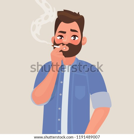man is smoking a cigarette