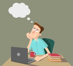 Man is thinking and sitting at the table with laptop and books. Vector illustration,