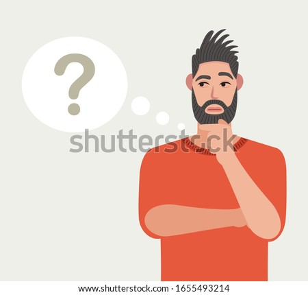 Man is thinking. Question mark. Vector illustration in cartoon style. Foto stock ©