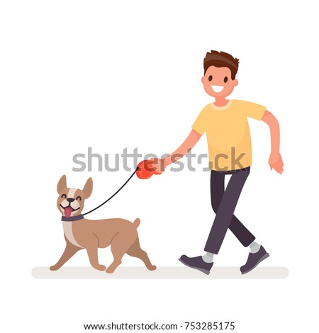 man is walking with a dog