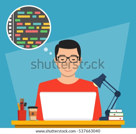 Man is working with laptop. Programmer coding a new project using laptop. Flat vector illustration.