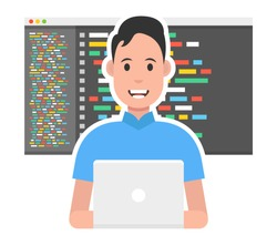 Man is working with laptop. Programmer coding a new project using laptop. Vector illustration.