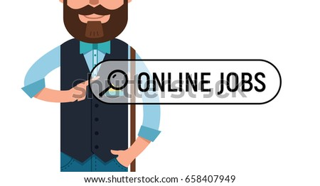 man is writing online job in search bar on virtual screen man looking for job - Looking For Jobs Online