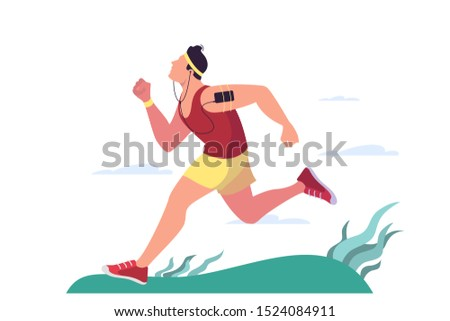 Man jogging. Active and healthy lifestyle, outdoor activity. Athlete on marathon. Isolated flat vector illustration