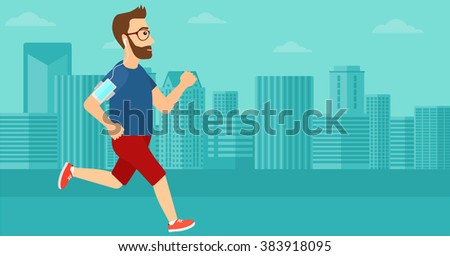 man jogging with earphones and