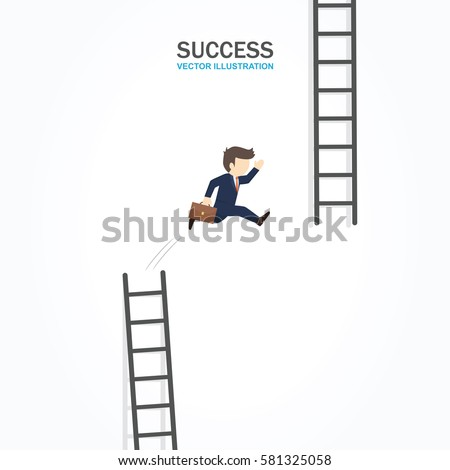 Man jump from low stair to high stair. Success Concept.