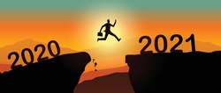 Man jump from 2020 to 2021 - New Year 2021