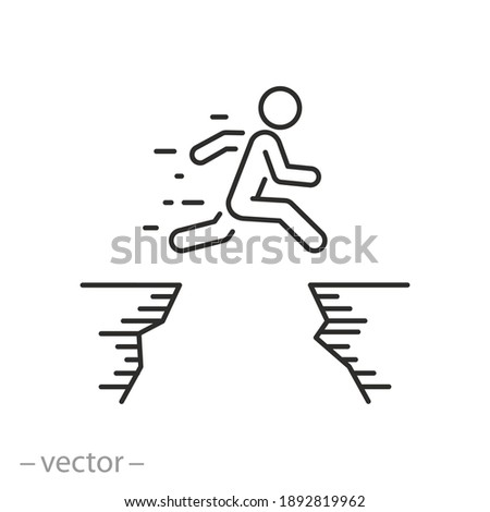 man jumping across the mountain gap icon, life challenge obstacle, jump career barrier, high cliff and people courage, business mission risk, thin line symbol - editable stroke vector illustration Сток-фото ©