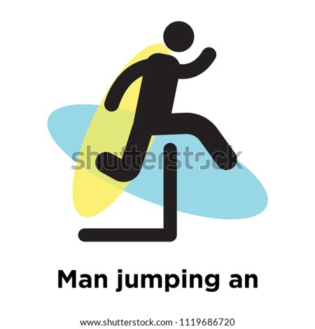 man jumping an obstacle icon