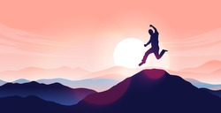 Man jumping on mountain top - Person jump in air with sunrise and mountain range in background. Personal happiness and triumph concept. Vector illustration.