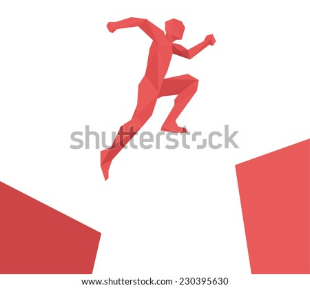 Man jumping over gap geometric design vector isolated