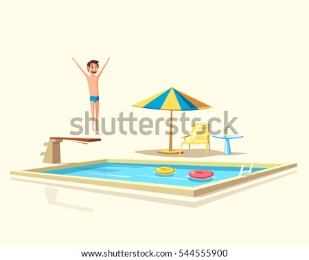 Man jumping. Swimming pool with a diving board. Cartoon Vector illustration. Sport and recreation. Preparing to jump and dive. Vintage style