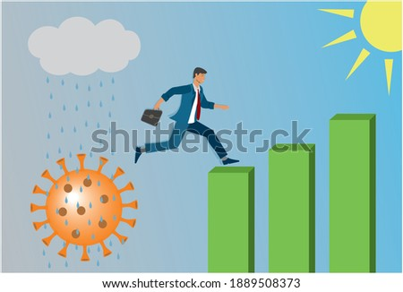 Man jumping to better life after new Corona pandemic. Vector illustration.