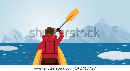 man kayaking  arctic background ...