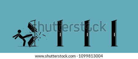 Man kicking down and destroying door one by one. Vector illustration depicts eliminating barrier of entries, roadblocks, overcome challenges, and destroying obstacles with power and brute force.