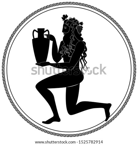 Man knee on land holding an amphora, wearing crown of grape leaves and bunches of grapes. Representation of the god Dionysus. Greek circular ornament around. Ancient Greece style