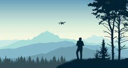 Man launches a drone. Videographer takes a landscape and nature. Forest, trees, mountains. Silhouette vector illustration
