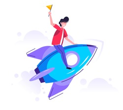 Man launching rocket, rise of the career to success, prepare a business project, Vector illustration.