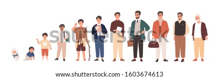 Man life cycle flat vector illustration. Male person aging stages, guy growth phases set. Boy growing up from little child to oldster cartoon character. Infancy, childhood, adulthood and senility.