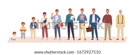 Man life cycle flat vector illustration. Man in different age. From child to old person. Teenager, adult and baby generation. Aging process.