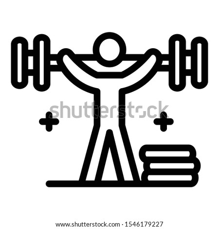 Man lift up dumbbell icon. Outline man lift up dumbbell vector icon for web design isolated on white background