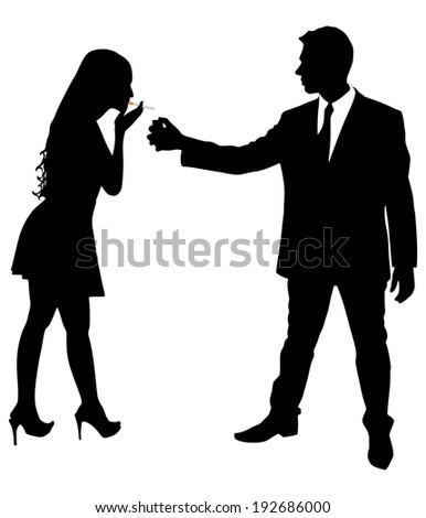 man lighting cigarette to woman