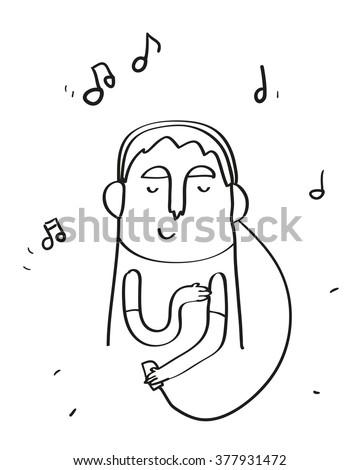 man listening music in