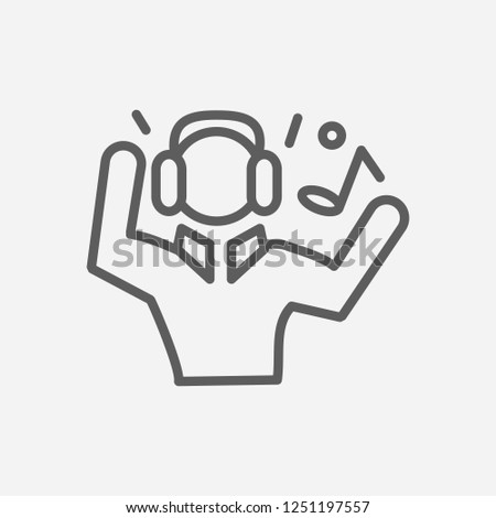 Man listing music icon line symbol. Isolated vector illustration of  icon sign concept for your web site mobile app logo UI design.