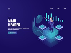 Man look graphic chart, business analytics concept, big data processing icon, virtual reality interface, server room admin administrator, isometric illustration vector neon dark