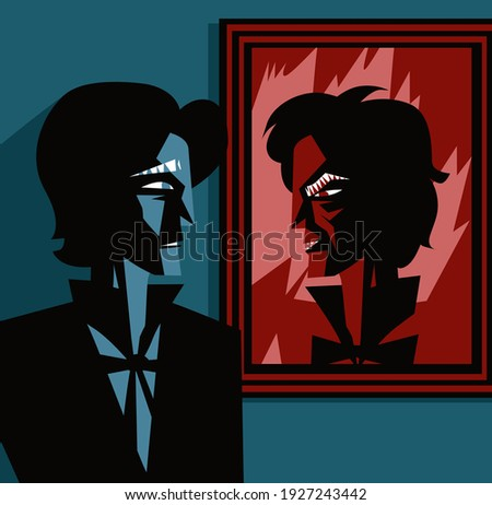 man looking at a ugly face portrait
