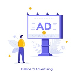 Man looking at billboard with telephone number on it. Concept of outdoor advertising, promotion and marketing, advertisement on street. Modern flat colorful vector illustration for poster, banner.