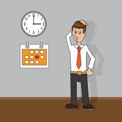 man looking at clock and calendar. vector illustration of cartoon